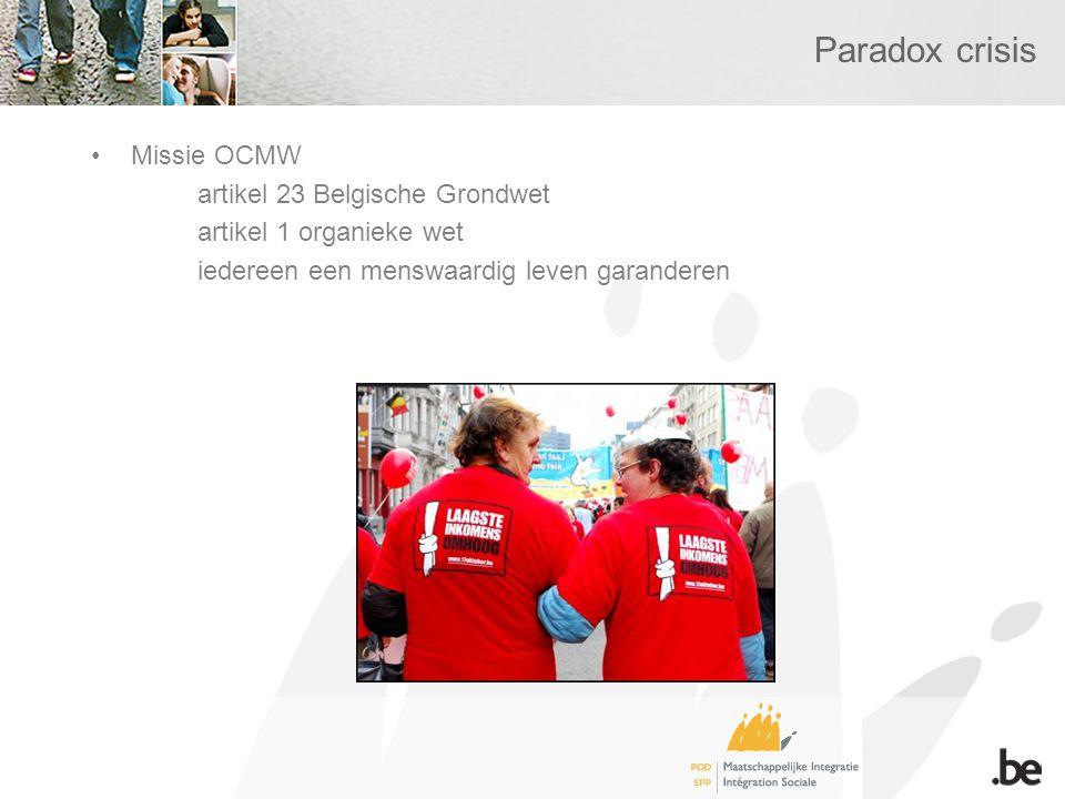 Paradox crisis Missie OCMW artikel 23 Belgische Grondwet artikel 1 organieke wet iedereen een menswaardig leven garanderen