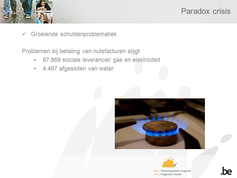 Paradox crisis Groeiende schuldenproblematiek Problemen bij betaling van nutsfacturen stijgt 87.869 sociale leverancier gas en elektriciteit 4.497 afgesloten van water