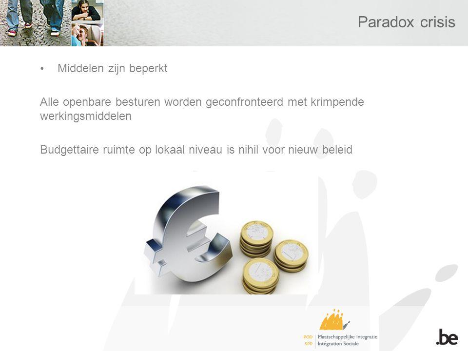 Paradox crisis Middelen zijn beperkt Alle openbare besturen worden geconfronteerd met krimpende werkingsmiddelen Budgettaire ruimte op lokaal niveau is nihil voor nieuw beleid