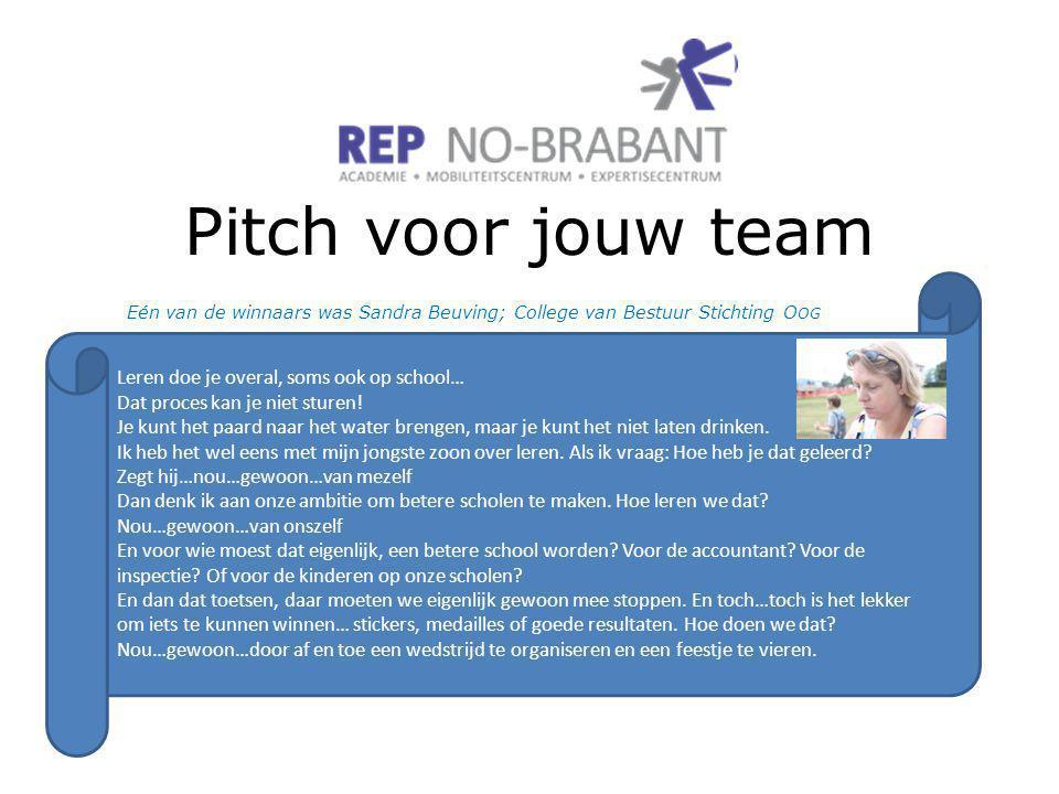 Pitch voor jouw team Eén van de winnaars was Sandra Beuving; College van Bestuur Stichting O OG Leren doe je overal, soms ook op school… Dat proces kan je niet sturen.