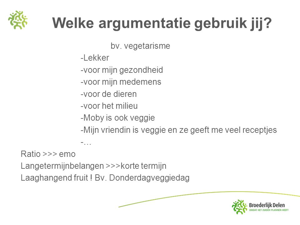 Welke argumentatie gebruik jij? bv. vegetarisme -Lekker -voor mijn gezondheid -voor mijn medemens -voor de dieren -voor het milieu -Moby is ook veggie