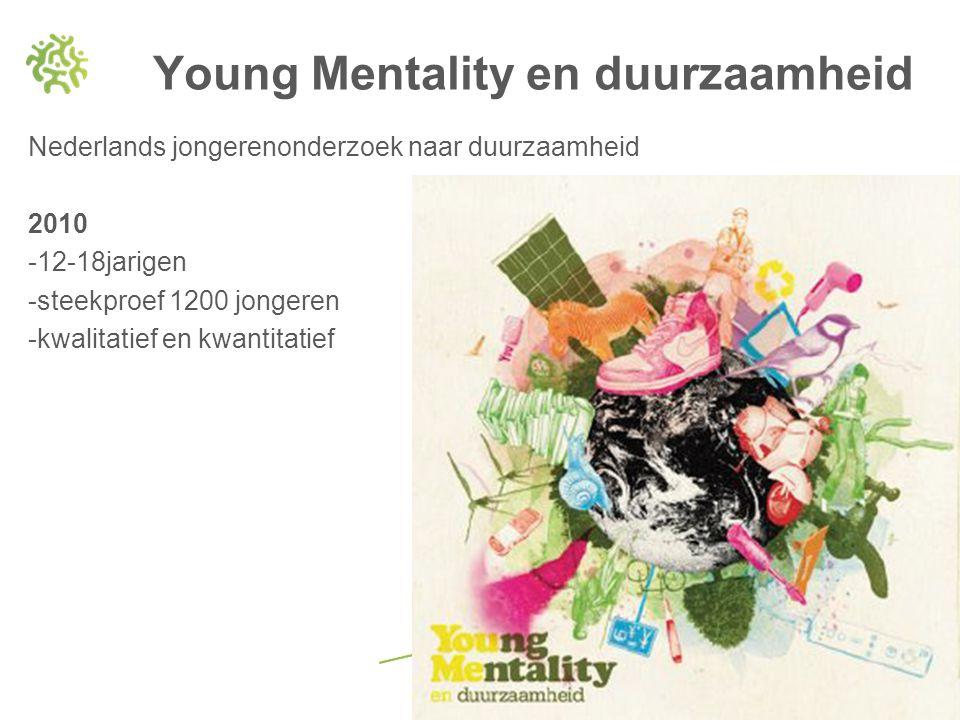 Nederlands jongerenonderzoek naar duurzaamheid 2010 -12-18jarigen -steekproef 1200 jongeren -kwalitatief en kwantitatief Young Mentality en duurzaamhe