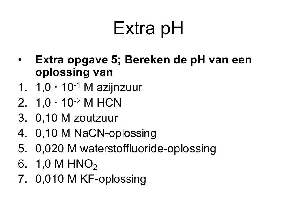 Extra pH Extra opgave 5; Bereken de pH van een oplossing van 1.1,0 · 10 -1 M azijnzuur 2.1,0 · 10 -2 M HCN 3.0,10 M zoutzuur 4.0,10 M NaCN-oplossing 5