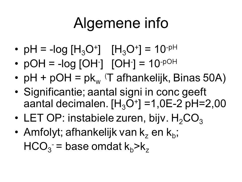 Algemene info pH = -log [H 3 O + ][H 3 O + ] = 10 -pH pOH = -log [OH - ][OH - ] = 10 -pOH pH + pOH = pk w ( T afhankelijk, Binas 50A) Significantie; a
