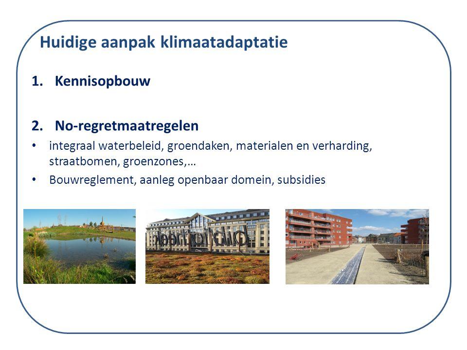 1.Kennisopbouw 2.No-regretmaatregelen integraal waterbeleid, groendaken, materialen en verharding, straatbomen, groenzones,… Bouwreglement, aanleg ope