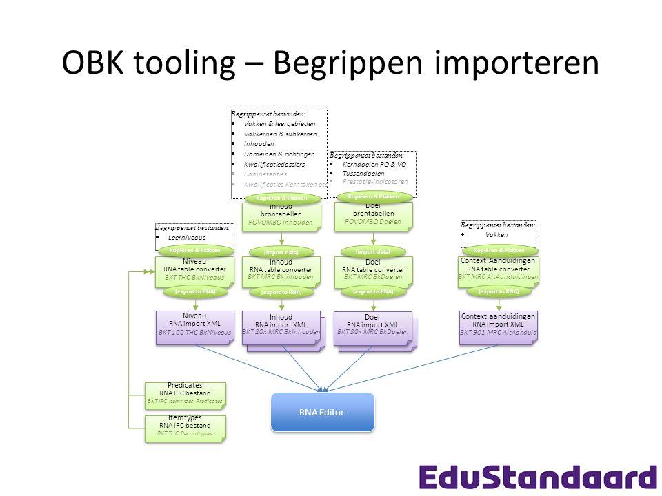 OBK tooling – Begrippen importeren Begrippenset bestanden : Kerndoelen PO & VO Tussendoelen Prestatie-indicatoren Begrippenset bestanden:  Vakken & leergebieden  Vakkernen & subkernen  Inhouden  Domeinen & richtingen  Kwalificatiedossiers  Competenties  Kwalificaties-Kerntaken-etc Begrippenset bestanden:  Leerniveaus Niveau RNA import XML BKT 100 THC BkNiveaus Niveau RNA import XML BKT 100 THC BkNiveaus Inhoud RNA import XML BKT 20x MRC BkInhouden Inhoud RNA import XML BKT 20x MRC BkInhouden Doel RNA import XML BKT 30x MRC BkDoelen Doel RNA import XML BKT 30x MRC BkDoelen Inhoud brontabellen POVOMBO Inhouden Inhoud brontabellen POVOMBO Inhouden Doel brontabellen POVOMBO Doelen Doel brontabellen POVOMBO Doelen Niveau RNA table converter BKT THC BkNiveaus Niveau RNA table converter BKT THC BkNiveaus Inhoud RNA table converter BKT MRC BkInhouden Inhoud RNA table converter BKT MRC BkInhouden Doel RNA table converter BKT MRC BkDoelen Doel RNA table converter BKT MRC BkDoelen [export to RNA] Predicates RNA IPC bestand BKT IPC Itemtypes Predicates Predicates RNA IPC bestand BKT IPC Itemtypes Predicates Itemtypes RNA IPC bestand BKT THC Recordtypes Itemtypes RNA IPC bestand BKT THC Recordtypes Context Aanduidingen RNA table converter BKT MRC AltAanduidingen Context Aanduidingen RNA table converter BKT MRC AltAanduidingen Context aanduidingen RNA import XML BKT 901 MRC AltAanduid Context aanduidingen RNA import XML BKT 901 MRC AltAanduid [export to RNA] Begrippenset bestanden:  Vakken Kopiëren & Plakken RNA Editor [import data] Kopiëren & Plakken