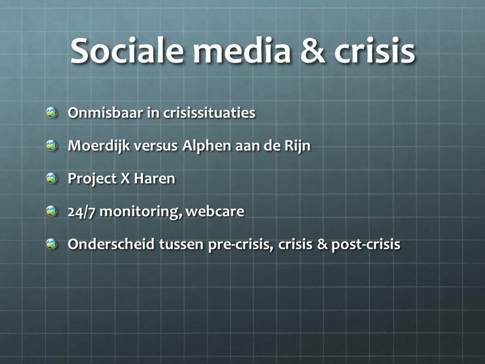 Sociale media & crisis Onmisbaar in crisissituaties Moerdijk versus Alphen aan de Rijn Project X Haren 24/7 monitoring, webcare Onderscheid tussen pre-crisis, crisis & post-crisis