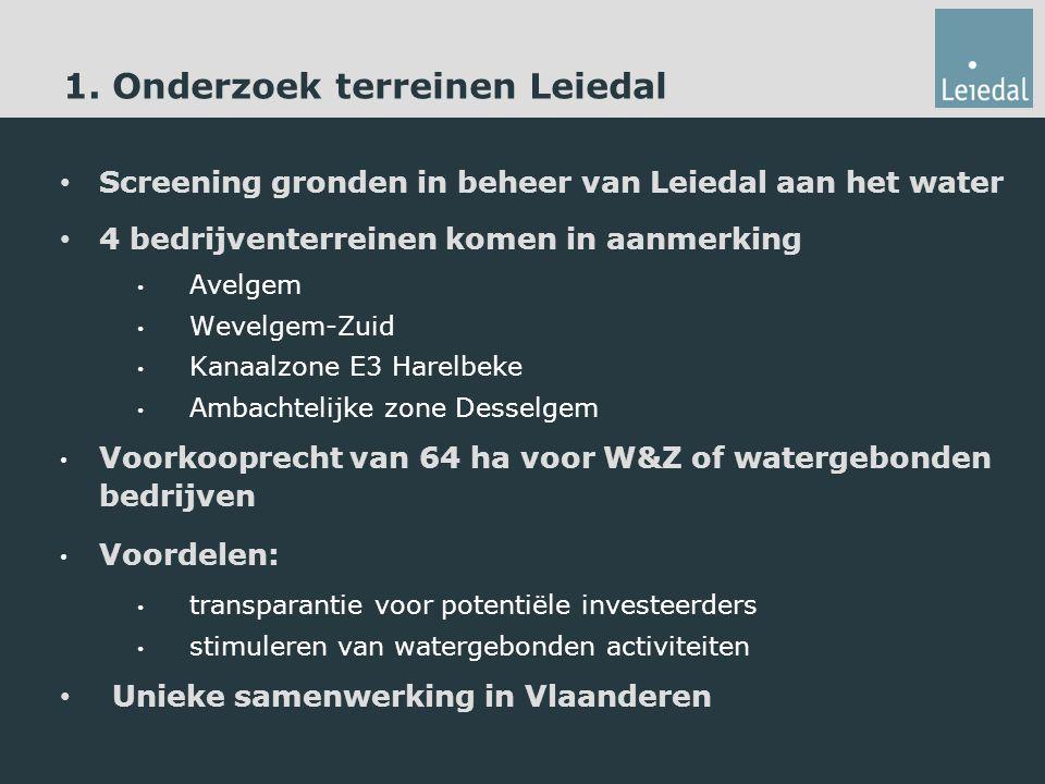 1. Onderzoek terreinen Leiedal Screening gronden in beheer van Leiedal aan het water 4 bedrijventerreinen komen in aanmerking Avelgem Wevelgem-Zuid Ka