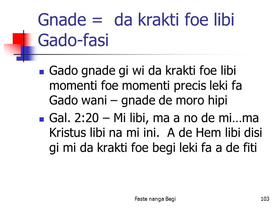 Faste nanga Begi103 Gnade = da krakti foe libi Gado-fasi Gado gnade gi wi da krakti foe libi momenti foe momenti precis leki fa Gado wani – gnade de moro hipi Gal.