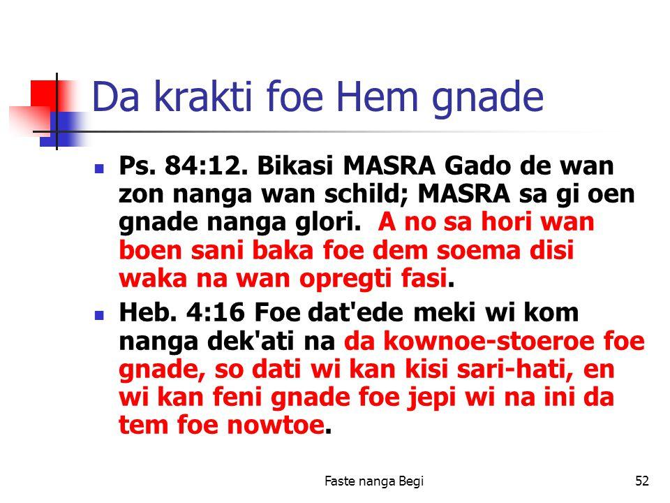 Faste nanga Begi52 Da krakti foe Hem gnade Ps. 84:12.