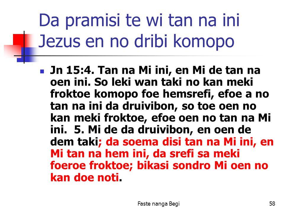 Faste nanga Begi58 Da pramisi te wi tan na ini Jezus en no dribi komopo Jn 15:4.