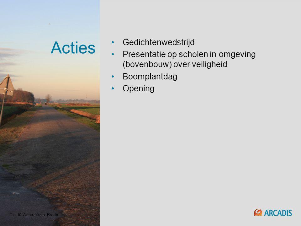 Acties Gedichtenwedstrijd Presentatie op scholen in omgeving (bovenbouw) over veiligheid Boomplantdag Opening Waterakkers BredaDia 10