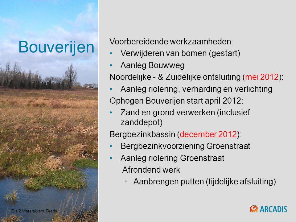 Bouverijen Voorbereidende werkzaamheden: Verwijderen van bomen (gestart) Aanleg Bouwweg Noordelijke - & Zuidelijke ontsluiting (mei 2012): Aanleg riol