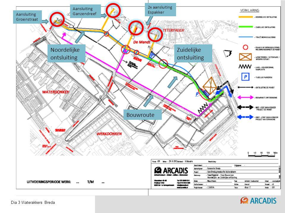 Waterakkers BredaDia 3 Noordelijke ontsluiting Zuidelijke ontsluiting Bouwroute Aansluiting Groenstraat Aansluiting Ganzendreef 2x aansluiting Espakke