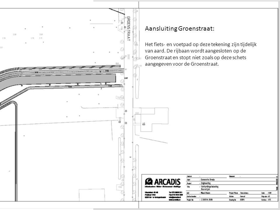 Waterakkers BredaDia 4 Aansluiting Groenstraat: Het fiets- en voetpad op deze tekening zijn tijdelijk van aard. De rijbaan wordt aangesloten op de Gro