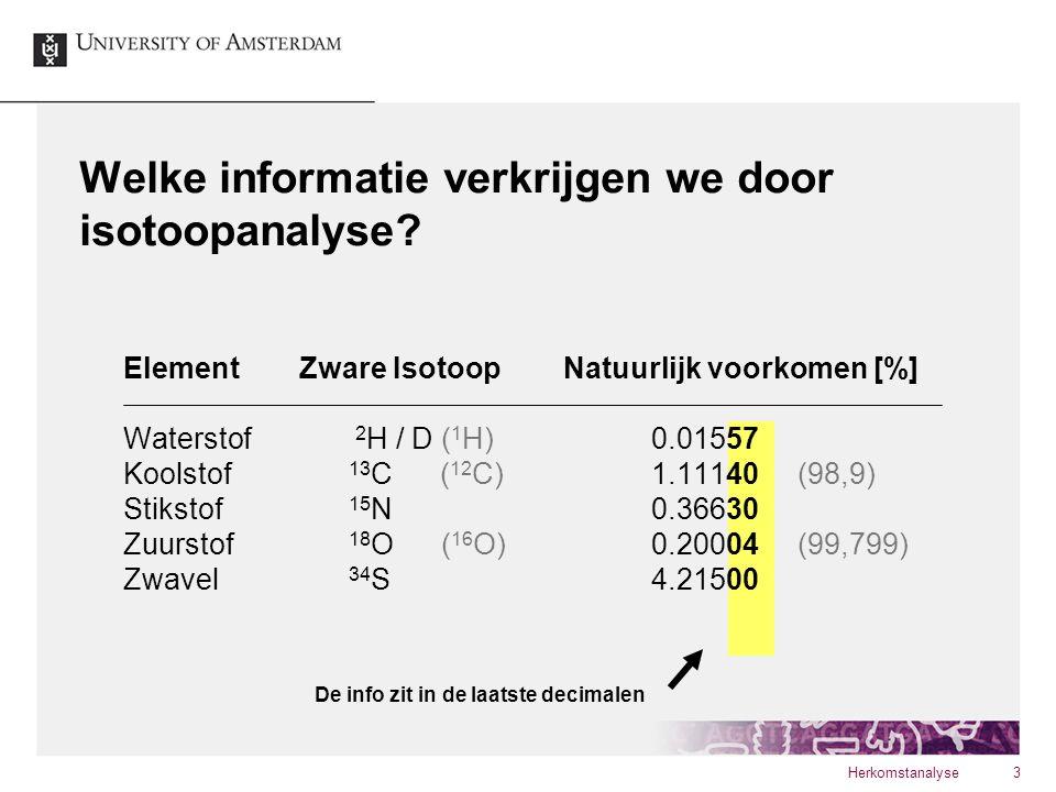 Welke informatie verkrijgen we door isotoopanalyse? Herkomstanalyse3 ElementZware IsotoopNatuurlijk voorkomen [%] Waterstof 2 H / D ( 1 H)0.01557 Kool