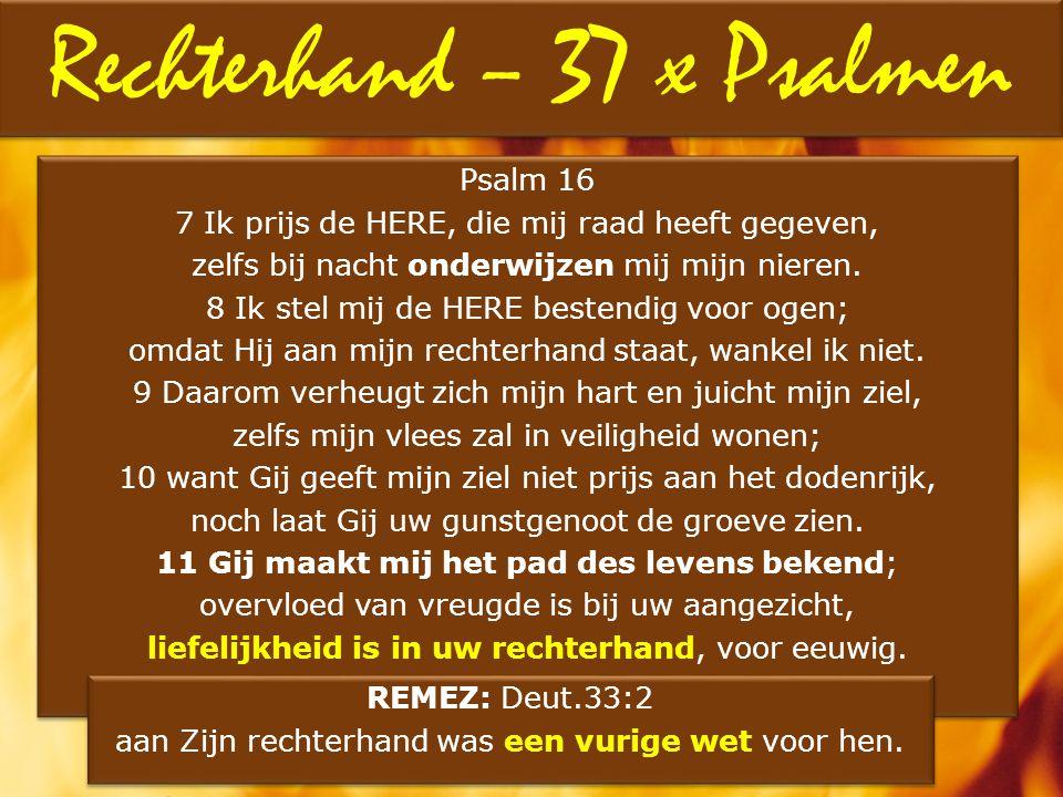 Psalm 16 7 Ik prijs de HERE, die mij raad heeft gegeven, zelfs bij nacht onderwijzen mij mijn nieren. 8 Ik stel mij de HERE bestendig voor ogen; omdat