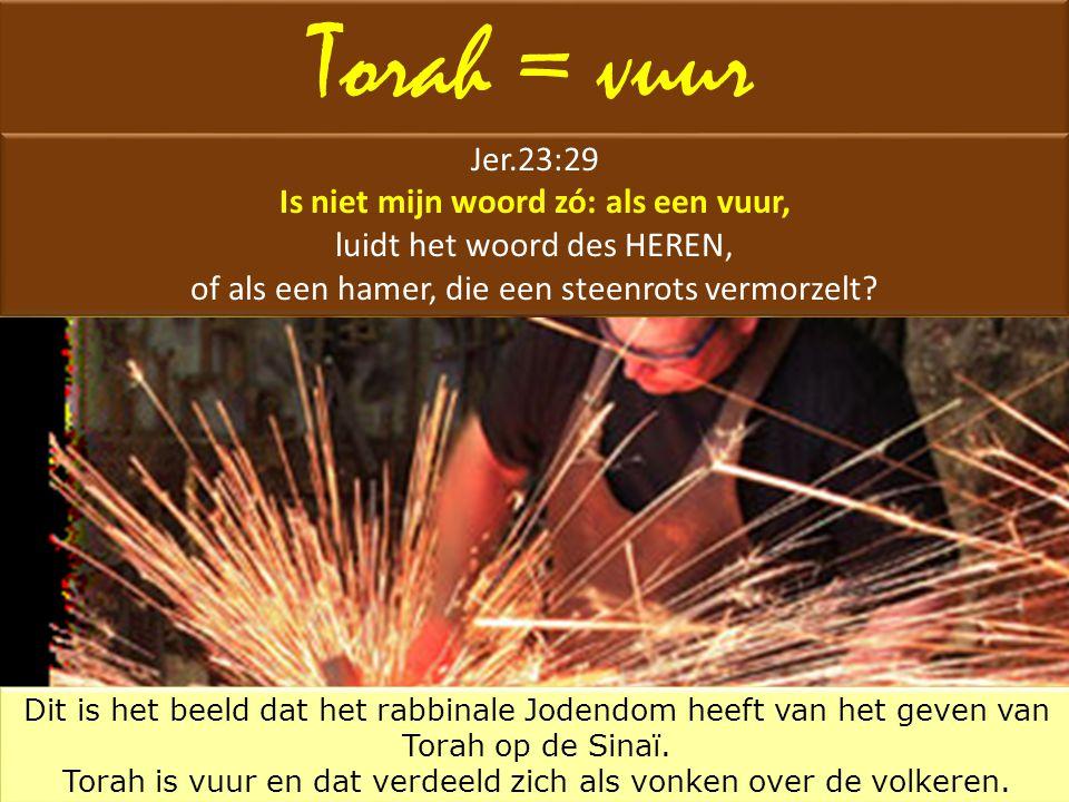 Torah = vuur Jer.23:29 Is niet mijn woord zó: als een vuur, luidt het woord des HEREN, of als een hamer, die een steenrots vermorzelt? Jer.23:29 Is ni