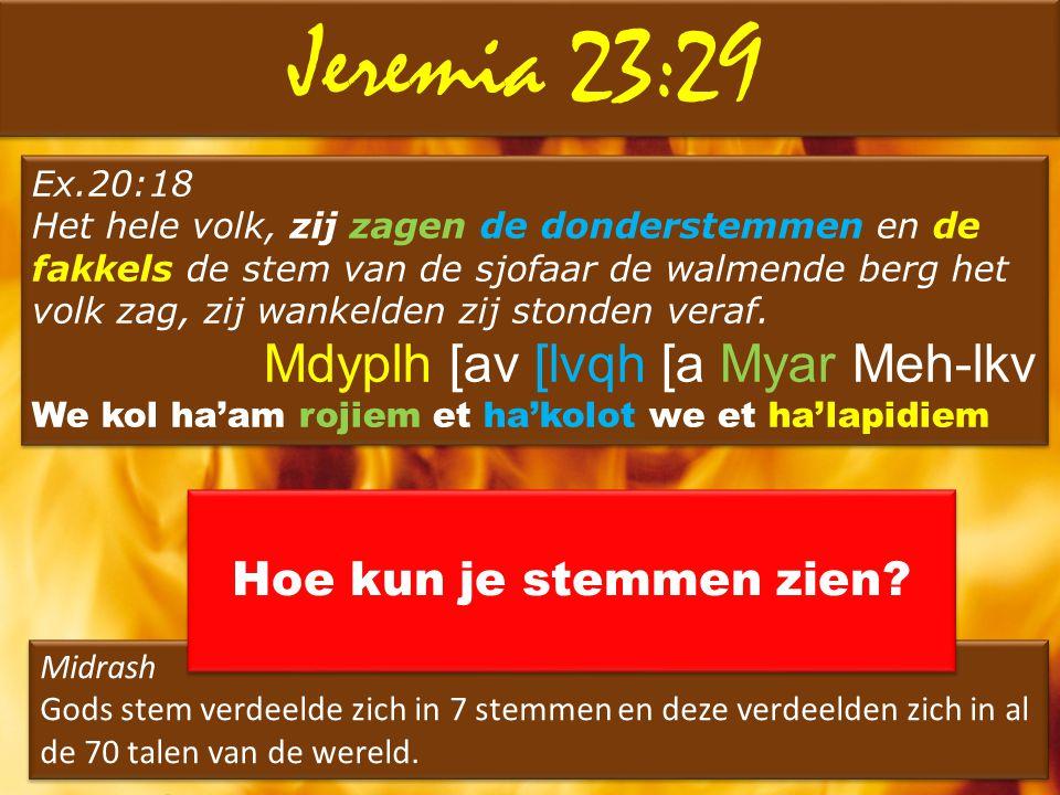 Jeremia 23:29 Ex.20:18 Het hele volk, zij zagen de donderstemmen en de fakkels de stem van de sjofaar de walmende berg het volk zag, zij wankelden zij
