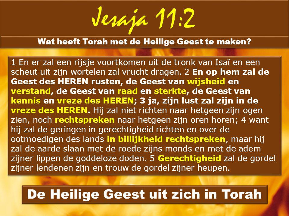 Jesaja 11:2 Wat heeft Torah met de Heilige Geest te maken? 1 En er zal een rijsje voortkomen uit de tronk van Isaï en een scheut uit zijn wortelen zal