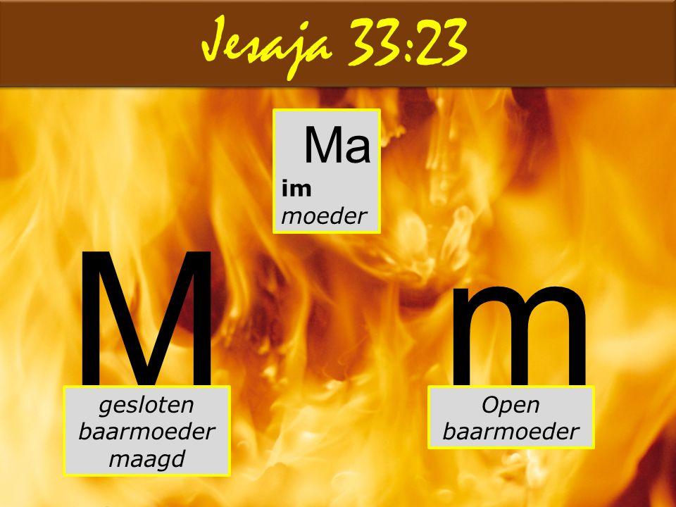 Jesaja 33:23 Ma im moeder Mm Open baarmoeder gesloten baarmoeder maagd