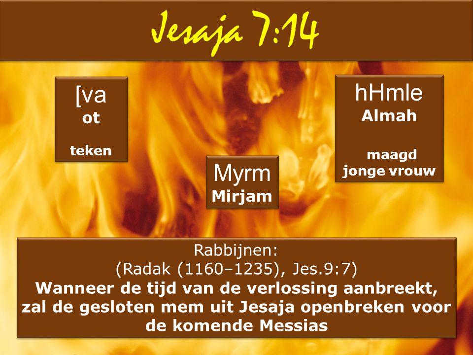 Jesaja 7:14 [va ot teken [va ot teken hHmle Almah maagd jonge vrouw hHmle Almah maagd jonge vrouw Myrm Mirjam Myrm Mirjam Rabbijnen: (Radak (1160–1235