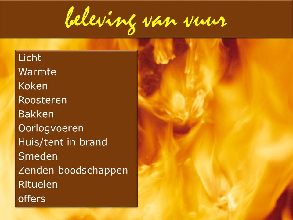 Licht Warmte Koken Roosteren Bakken Oorlogvoeren Huis/tent in brand Smeden Zenden boodschappen Rituelen offers Licht Warmte Koken Roosteren Bakken Oor