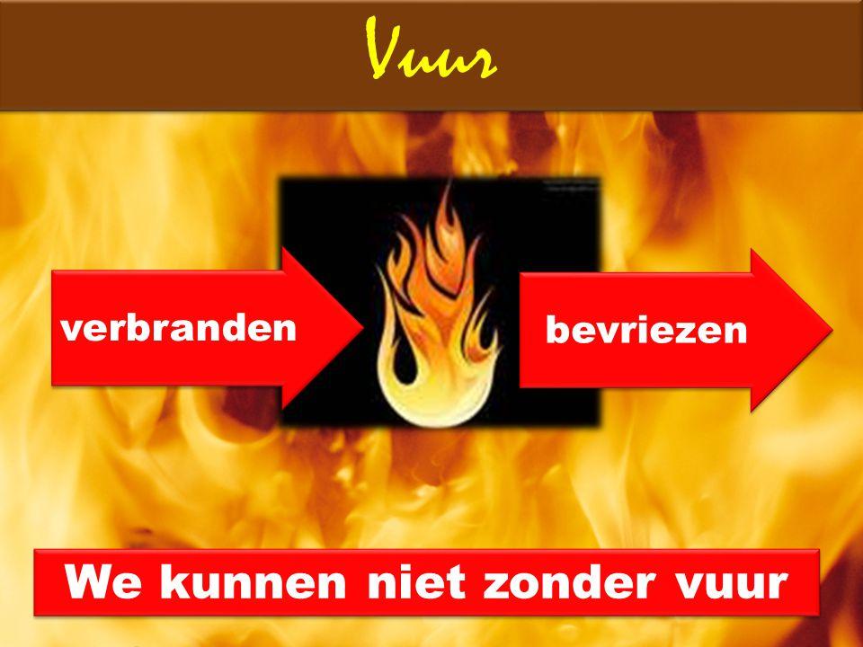 Vuur verbranden bevriezen We kunnen niet zonder vuur