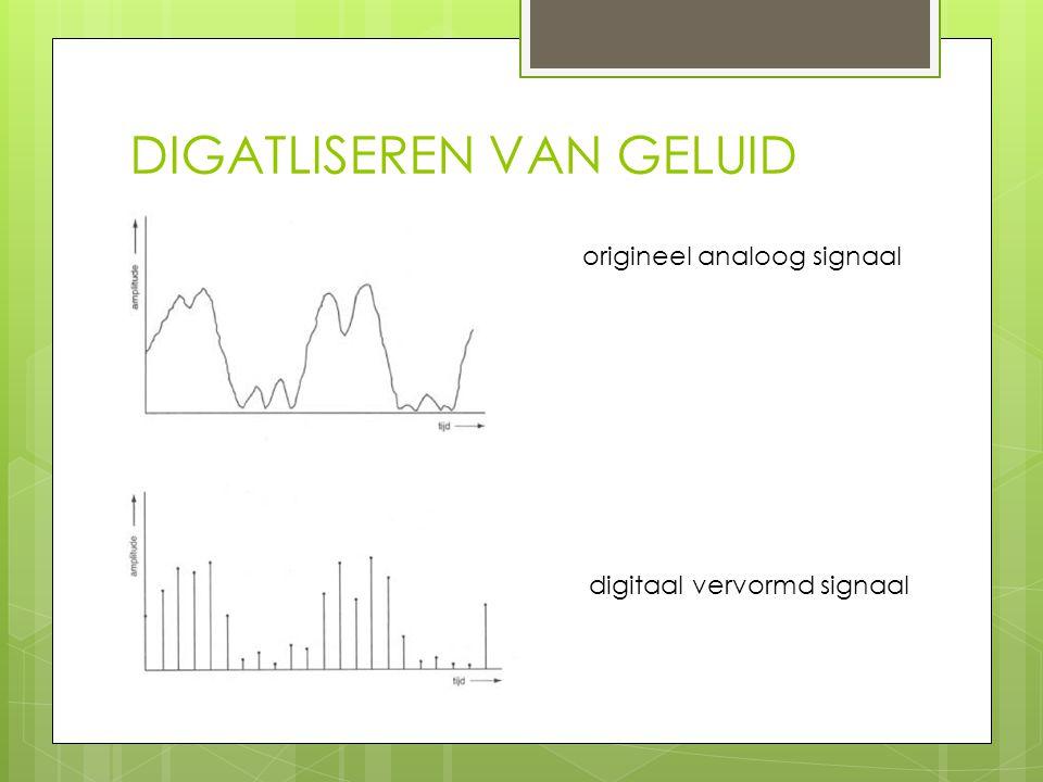 DIGATLISEREN VAN GELUID origineel analoog signaal digitaal vervormd signaal
