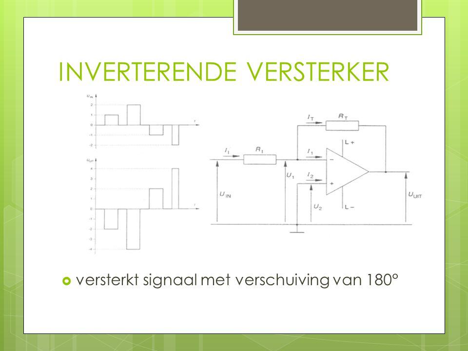 INVERTERENDE VERSTERKER  versterkt signaal met verschuiving van 180°
