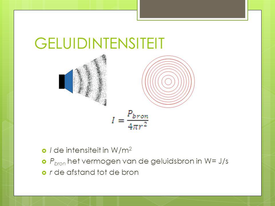 GELUIDINTENSITEIT  I de intensiteit in W/m 2  P bron het vermogen van de geluidsbron in W= J/s  r de afstand tot de bron