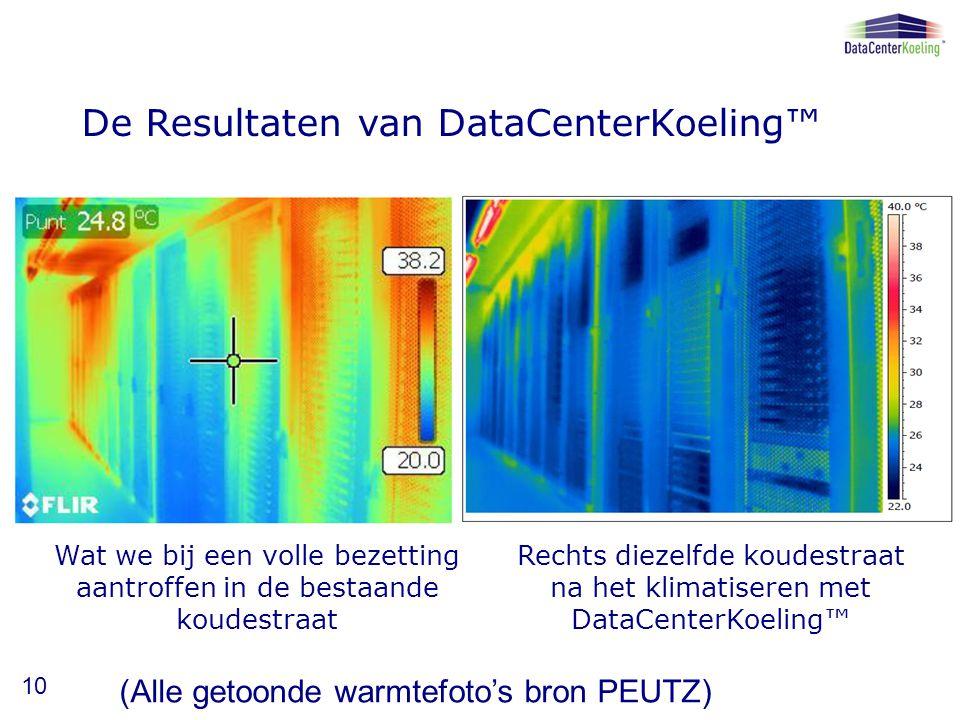 De Resultaten van DataCenterKoeling™ Wat we bij een volle bezetting aantroffen in de bestaande koudestraat Rechts diezelfde koudestraat na het klimatiseren met DataCenterKoeling™ 10 (Alle getoonde warmtefoto's bron PEUTZ)