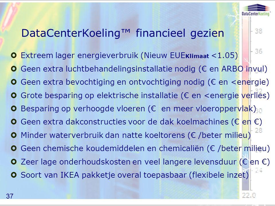 DataCenterKoeling™ financieel gezien  Extreem lager energieverbruik (Nieuw EUE Klimaat <1.05)  Geen extra luchtbehandelingsinstallatie nodig (€ en ARBO invul)  Geen extra bevochtiging en ontvochtiging nodig (€ en <energie)  Grote besparing op elektrische installatie (€ en <energie verlies)  Besparing op verhoogde vloeren (€ en meer vloeroppervlak)  Geen extra dakconstructies voor de dak koelmachines (€ en €)  Minder waterverbruik dan natte koeltorens (€ /beter milieu)  Geen chemische koudemiddelen en chemicaliën (€ /beter milieu)  Zeer lage onderhoudskosten en veel langere levensduur (€ en €)  Soort van IKEA pakketje overal toepasbaar (flexibele inzet) 37