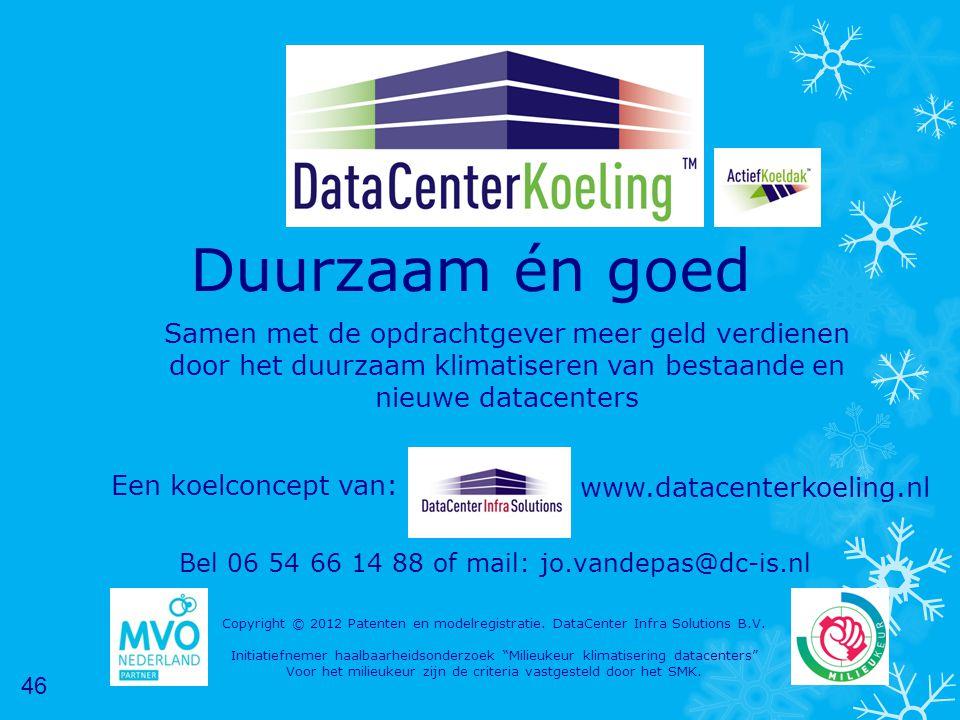 Duurzaam én goed Samen met de opdrachtgever meer geld verdienen door het duurzaam klimatiseren van bestaande en nieuwe datacenters Copyright © 2012 Patenten en modelregistratie.