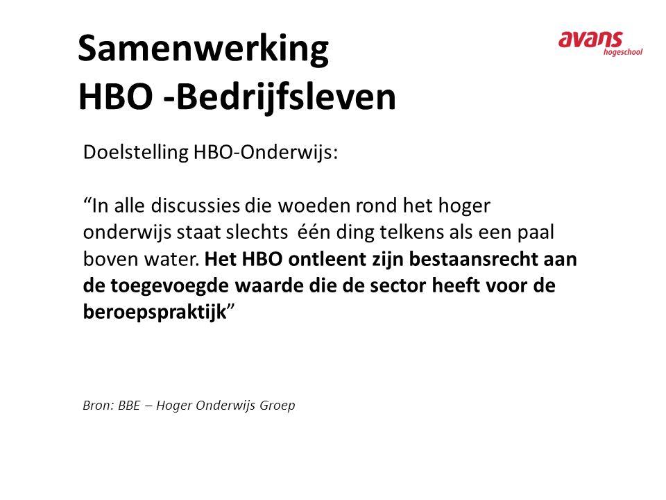 """Samenwerking HBO -Bedrijfsleven Doelstelling HBO-Onderwijs: """"In alle discussies die woeden rond het hoger onderwijs staat slechts één ding telkens als"""
