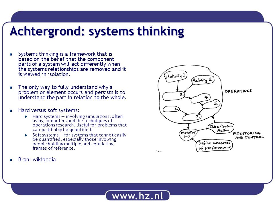 Achtergrond: systems thinking Systems thinking is a framework that is based on the belief that the component parts of a system will act differently wh