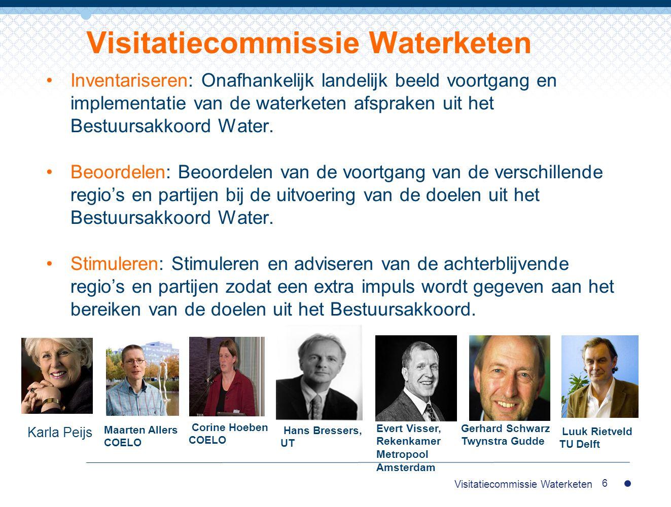 Inventariseren: Onafhankelijk landelijk beeld voortgang en implementatie van de waterketen afspraken uit het Bestuursakkoord Water. Beoordelen: Beoord