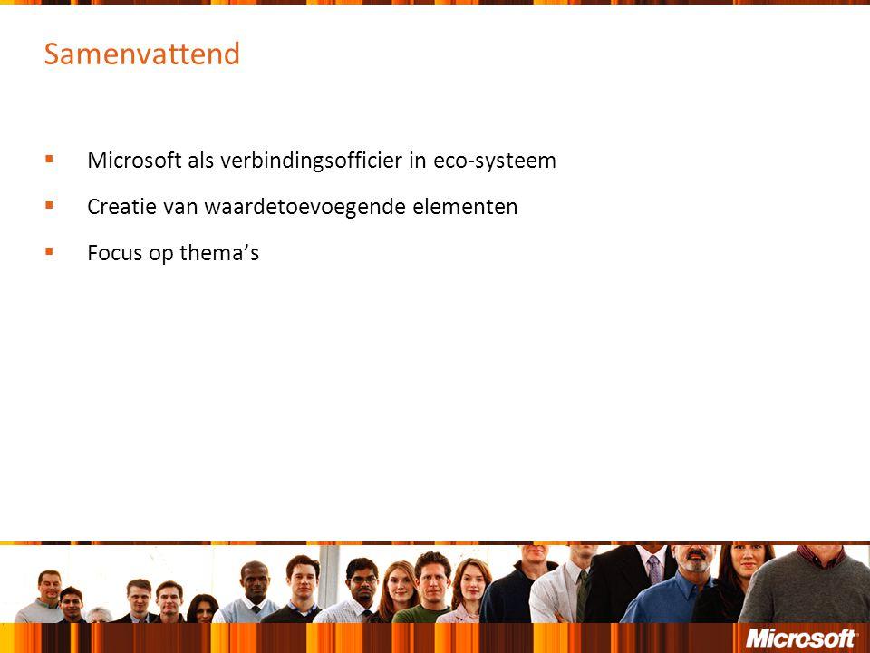Samenvattend  Microsoft als verbindingsofficier in eco-systeem  Creatie van waardetoevoegende elementen  Focus op thema's