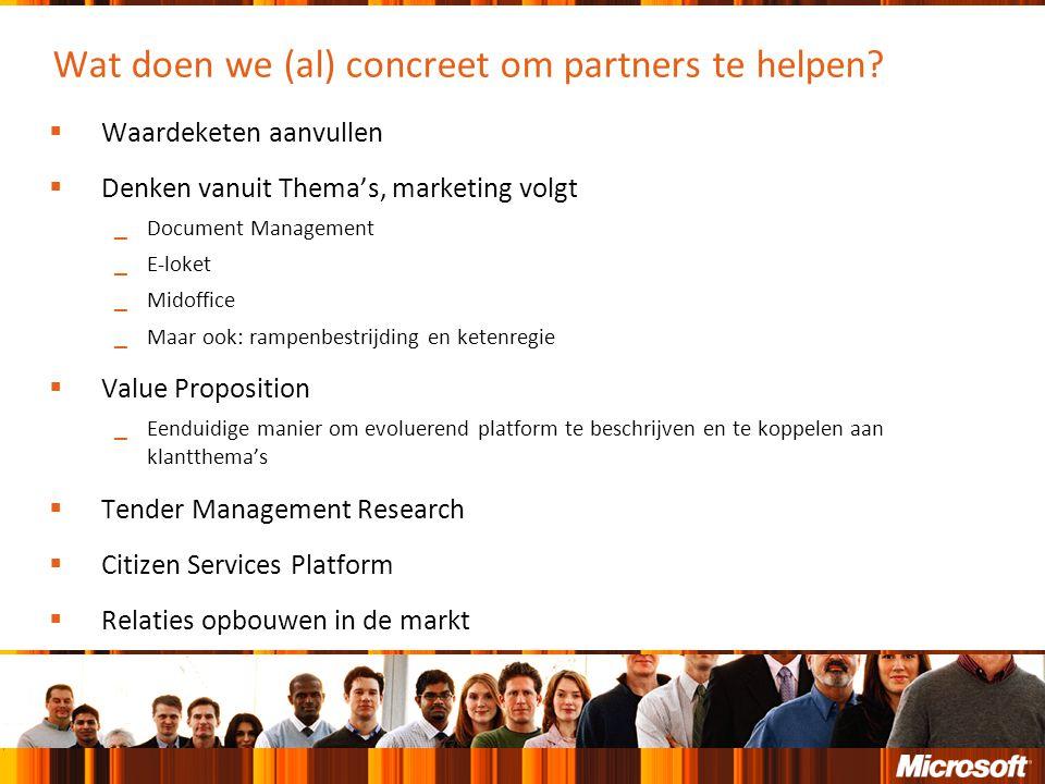 Wat doen we (al) concreet om partners te helpen?  Waardeketen aanvullen  Denken vanuit Thema's, marketing volgt ‗ Document Management ‗ E-loket ‗ Mi