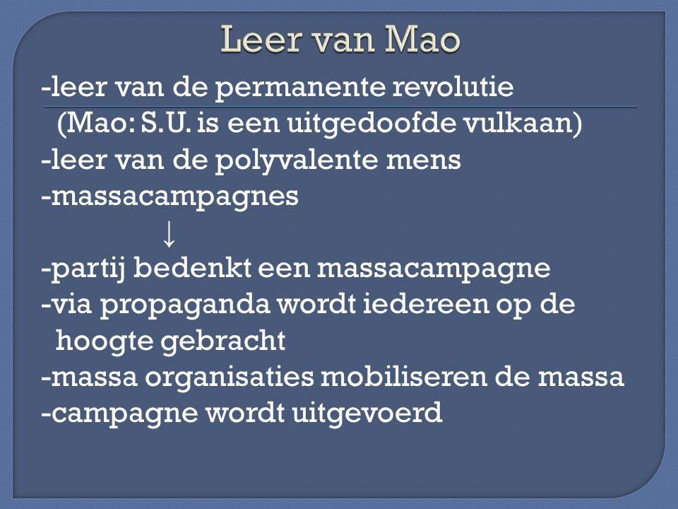 -leer van de permanente revolutie (Mao: S.U. is een uitgedoofde vulkaan) -leer van de polyvalente mens -massacampagnes ↓ -partij bedenkt een massacamp