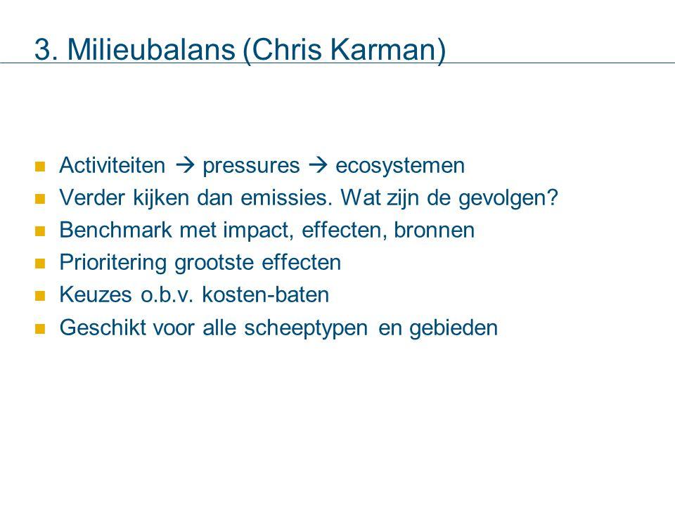 3. Milieubalans (Chris Karman) Activiteiten  pressures  ecosystemen Verder kijken dan emissies.