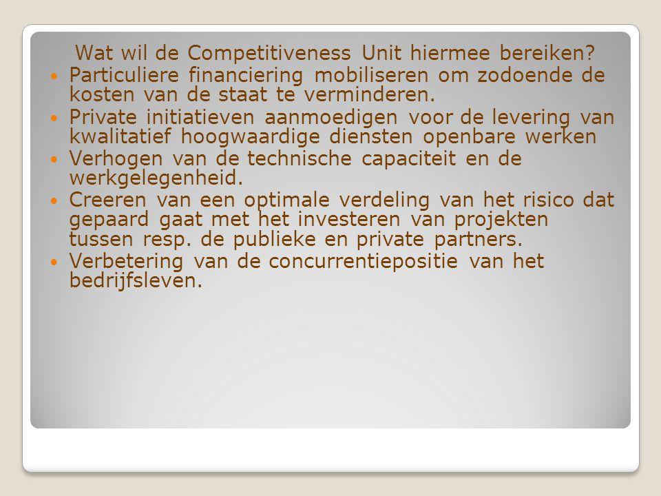 Wat wil de Competitiveness Unit hiermee bereiken.
