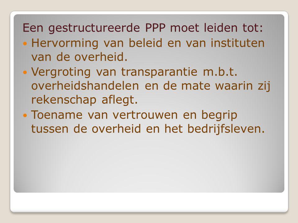 Een gestructureerde PPP moet leiden tot: Hervorming van beleid en van instituten van de overheid.
