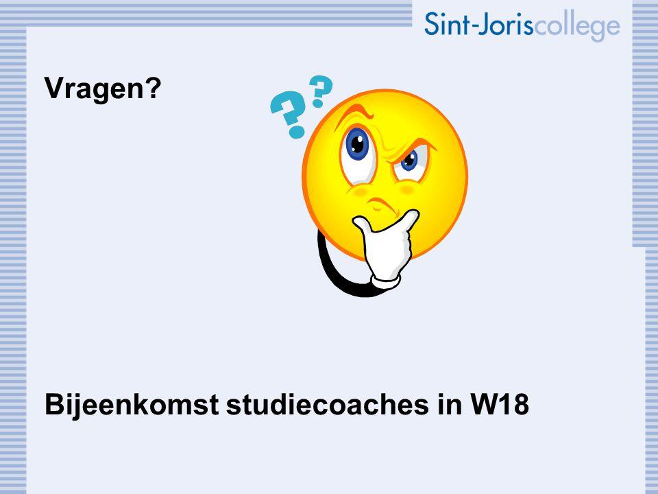 Vragen? Bijeenkomst studiecoaches in W18