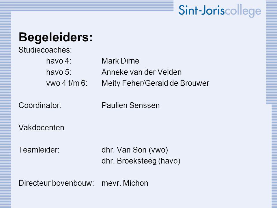 Begeleiders: Studiecoaches: havo 4: Mark Dirne havo 5: Anneke van der Velden vwo 4 t/m 6:Meity Feher/Gerald de Brouwer Coördinator:Paulien Senssen Vak