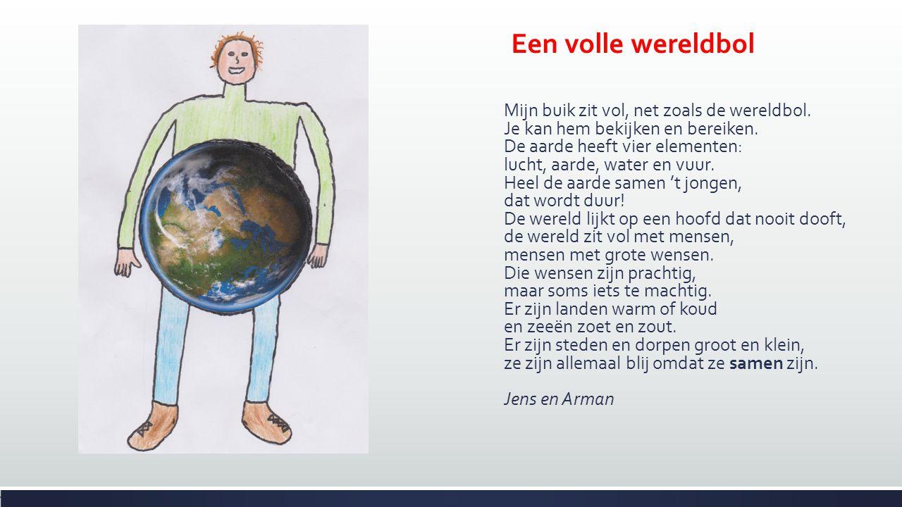 Een volle wereldbol Mijn buik zit vol, net zoals de wereldbol. Je kan hem bekijken en bereiken. De aarde heeft vier elementen: lucht, aarde, water en