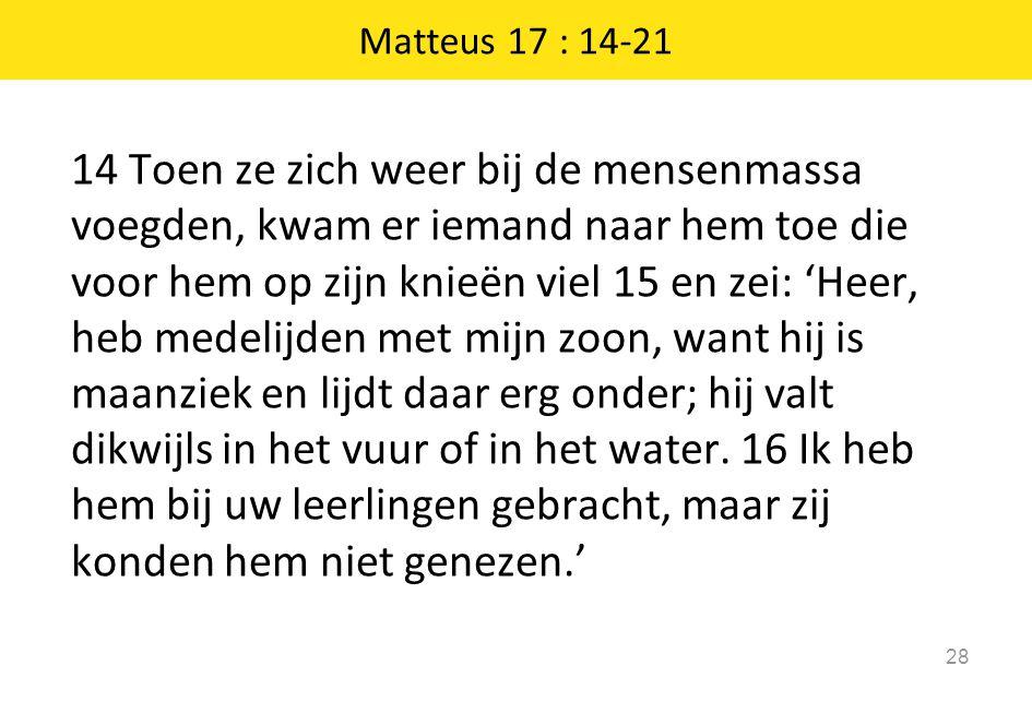 14 Toen ze zich weer bij de mensenmassa voegden, kwam er iemand naar hem toe die voor hem op zijn knieën viel 15 en zei: 'Heer, heb medelijden met mij