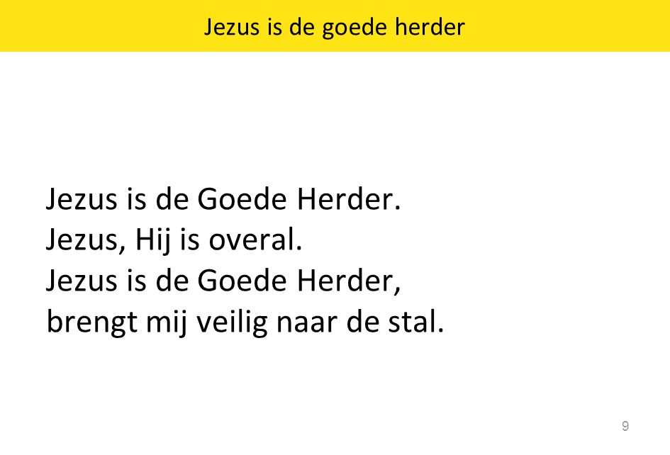 Jezus is de goede herder 9 Jezus is de Goede Herder. Jezus, Hij is overal. Jezus is de Goede Herder, brengt mij veilig naar de stal.