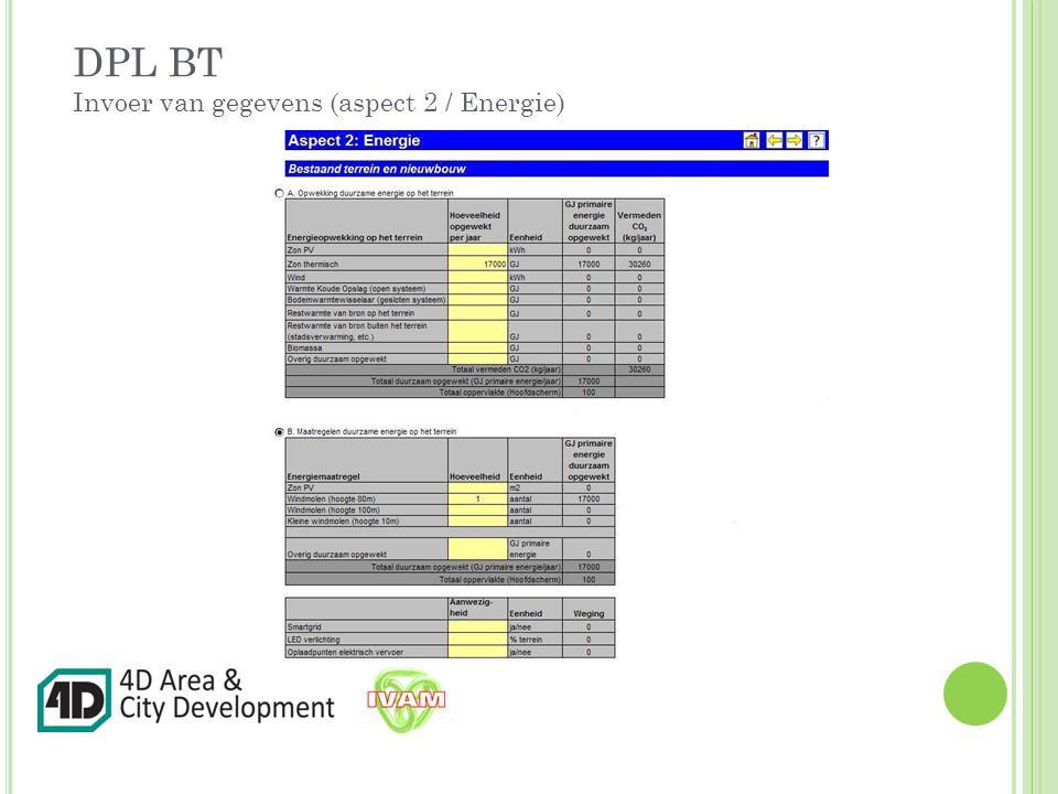 DPL BT Invoer van gegevens (aspect 2 / Energie)