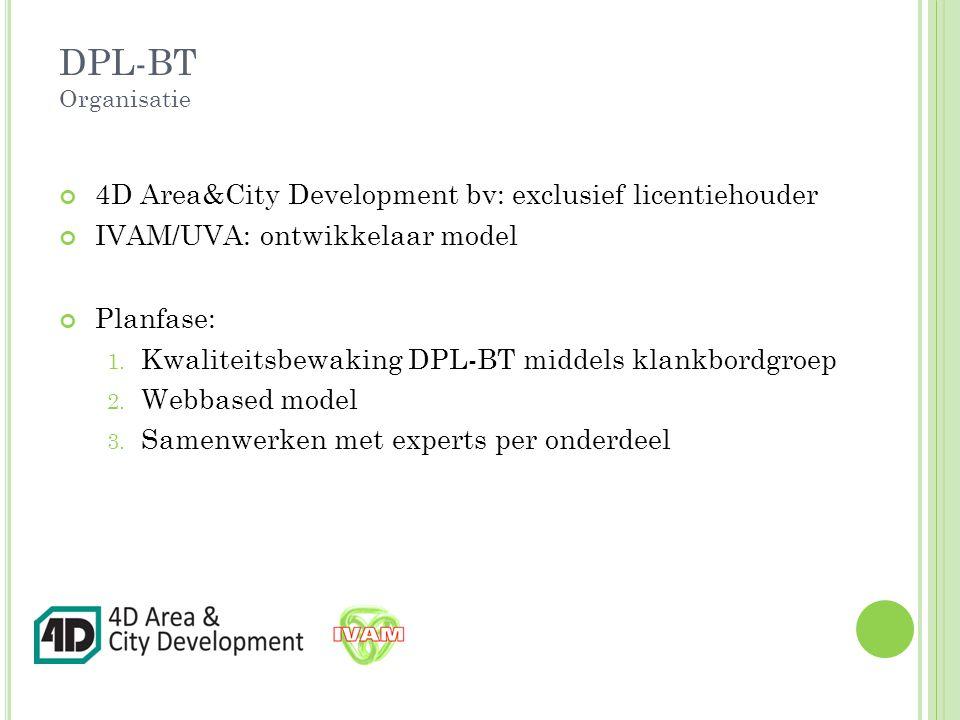 DPL-BT Organisatie 4D Area&City Development bv: exclusief licentiehouder IVAM/UVA: ontwikkelaar model Planfase: 1.